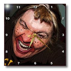 dpp_49539_3 Jos Fauxtographee Realistic - Lady Dressed Up Like Ugly Clown for Halloween With Her Face Very Animated, Silly and Scary - Wall Clocks - 15x15 Wall Clock 3dRose http://www.amazon.com/dp/B00BDRM52K/ref=cm_sw_r_pi_dp_jdKWvb04D0SSS