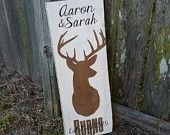 Personalized rustic couples name sign,deer head, stag, established sign, wedding sign, reclaimed wood