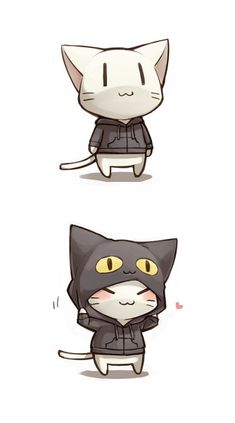 Chibi Neko with Cat Hood ! Chat Kawaii, Kawaii Cat, Kawaii Chibi, Cute Chibi, Anime Kawaii, Gato Anime, Chibi Anime, Manga Anime, Anime Art