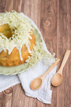 ... rhubarb bundt cake with elderflower glaze ...