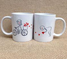 Két összeillő bögre, ahol a két fél adja ki az egészet. Ahogy egy igazi szerelmespár :-) #szerelem #szív #valentin #bicikli
