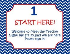 Meet the teacher night red, white, and navy blue nautical