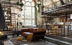 An erstwhile industrial space transformed into a loft would always be a home of spectacle Here are 40 of our best picks for most beautiful loft living spaces! Read what is a loft apartment and loft style. Get ideas for your loft homes. Room Interior, Interior Design Living Room, Living Room Designs, Living Spaces, Living Area, Living Walls, Living Rooms, Small Living, Interior Ideas