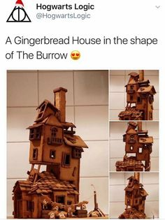 Weasley Burrow house out of gingerbread Gingerbread House Template, Christmas Gingerbread House, Gingerbread Houses, Harry Potter Universal, Harry Potter Fandom, Harry Potter Weihnachten, The Burrow, Hogwarts Letter, Ginny Weasley