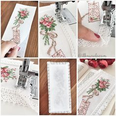 diy cross stitch and lace bookmark Cross Stitch Bookmarks, Just Cross Stitch, Cross Stitch Finishing, Cross Stitch Charts, Cross Stitch Designs, Cross Stitch Patterns, Cross Stitching, Cross Stitch Embroidery, Needlework