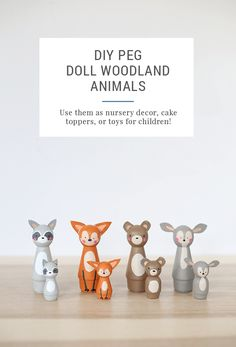 DIY Peg Doll Animals - This tutorial will show you how to make an adorable wooden raccoon, bear, fox, and rabbit. These are beautiful and so cute for nursery decor, a custom cake topper, or handmade toys for kids and children. The hand painted design is totally one of a kind and is a beautiful baby shower or wedding shower gift idea, too!