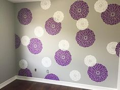 A DIY stenciled nursery accent wall in purple, gray, and white using the Summer Blossoms Flower Stencils from Cutting Edge Stencils. Accent Wall Decor, Accent Wall Bedroom, Purple Accent Walls, Purple Mirror, Stencil Painting On Walls, Stenciling, Purple Rooms, Little Girl Rooms, Of Wallpaper