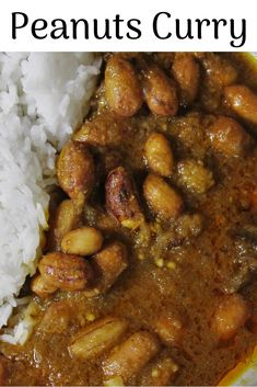 Peanuts/ groundnuts in a spicy sauce. Bean Recipes, Curry Recipes, Veggie Recipes, Vegetarian Recipes, Cooking Recipes, Indian Beans Recipe, Indian Veg Recipes, Tasty Dishes