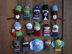 Pinokkió filc ujjbáb készlet, bábszínház, filcbáb, Játék, Báb, Játékfigura, Plüssállat, rongyjáték, Meska