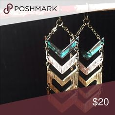 Mixed metal chevron earrings These beautiful statement earrings get loads of compliments! Jewelry Earrings