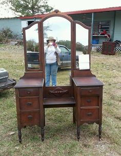 Antique VANITY DRESSER Vintage 3 Mirrors