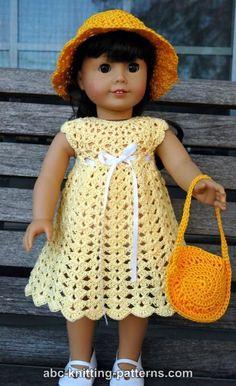 American Girl Doll Seashell Summer Dress by Elaine Phillips - http://www.abc-knitting-patterns.com/1371.html:
