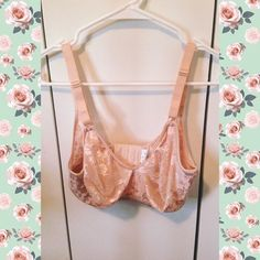 Vintage Lace Bra / Bralette Adorable cream/peachy colored lace bra /Bralette. No padding. It is a D cup, and I'd say 34 on the last latch. NOT VICTORIAS SECRET, just using for visibility. Victoria's Secret Intimates & Sleepwear Bras