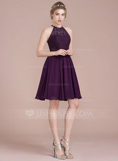 A-Line/Princess Scoop Neck Knee-Length Zipper Up Spaghetti Straps Sleeveless No Grape Spring Summer Fall Winter General Plus Chiffon Lace Bridesmaid Dress