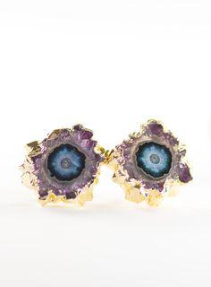 Kakahi (ka KA hee) - Unique, outstanding, solitary.  Gorgeous gold amethyst druzy stud earrings. These natural amethyst slice gemstones, plated