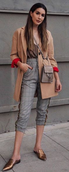 1a612ffc62 40 Sartorial Moves Cool Girls Are Making. Plaid Pants OutfitLoafers  OutfitCardigan ...