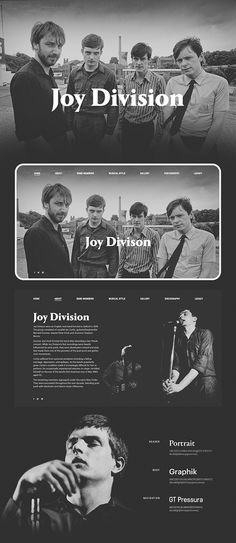 Joy Division were an English rock band formed in Salford in Division Games, Joy Division, Music Website Templates, Music Websites, Web Design, Graphic Design, Band Website, Ian Curtis, Unknown Pleasures