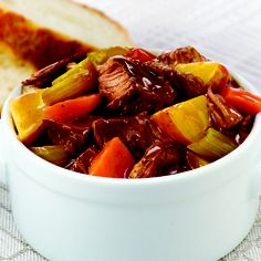 Slow Cookers Hearty Beef Stew: Your family will love the home-style flavor of Hearty Beef Stew. For a quick start, trim the meat and cut the veggies into pieces the night before, then. Slow Cooker Beef, Slow Cooker Recipes, Crockpot Recipes, Soup Recipes, Cooking Recipes, Crockpot Dishes, Beef Dishes, Cooking Ideas, Yummy Recipes