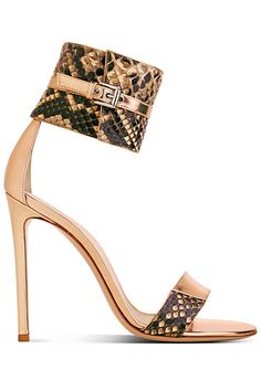 Sergio Rossi Snakeskin Nude & Brown Ankle Strap Sandal Spring Summer 2014 #Shoes #heels