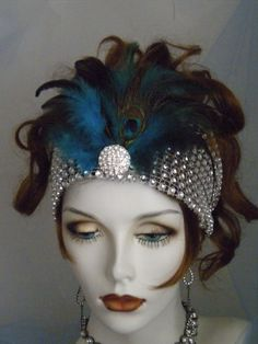 1920's Headpiece, Flapper Headband, Gatsby, Feathers, Silver, Old Hollywood, bandeau, peacock, READY TO SHIP, Sale, no. 200