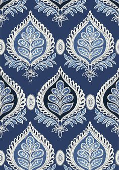 Fabric for Drapery panels - MIDLAND, Navy, T24314, Collection Bridgehampton from Thibaut