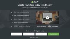 shopify landing page example - create your store. (Very compact layout. social proof as subhead. Best Landing Page Design, Landing Page Examples, Best Landing Pages, Landing Page Inspiration, Web Design Inspiration, Best Marketing Campaigns, Landing Page Optimization, Wordpress Landing Page, Web Design Examples