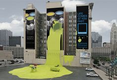 Nationwide Insurance's triptych billboard, paint spill and car park installation in Columbus, Ohio.
