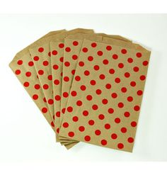These Red Polka Dot KRAFT Paper Bags are made in the USA and are FDA compliant. Their small size makes them perfect for treats, gift wrapping,