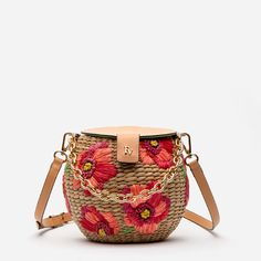 The Honeypot Basket Crossbody with red floral embroidery and leather details. Mini handwoven honeypot with gold chain handle and magnetic top closure. Designed in New York. Shop all crossbdoy basket bags from Frances Valentine. Yarn Flowers, Novelty Bags, Spring Flowers, Poppy Flowers, Basket Bag, Leather Crossbody Bag, Satchel Bag, Summer Bags, Cute Bags