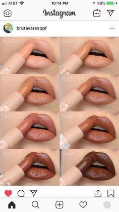 KKW nude lipstick collection Kylie Lipstick, Lipstick Dupes, Lipstick Swatches, Nude Lipstick, Makeup Dupes, Makeup Brands, Makeup Geek, Lipstick Colors, Lip Makeup