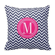 Blue Chevron Print Pillows | Pretty Throw Pillows - Navy blue and white with pink accents Monogram throw pillows $33.95 Monogram Pillows, Chevron Throw Pillows, Decorative Throw Pillows, Teal, Pink Accents, Volkswagen Logo, Blue And White, Navy Blue