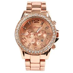 watch  GENEVA Luxury alloy diamond watch with calendar Rose Gold ** Click image for more details. (This is an affiliate link and I receive a commission for the sales)