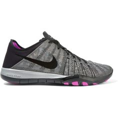 Nike Free TR 6 metallic mesh and neoprene sneakers ($110) ❤ liked on Polyvore featuring shoes, grey, metallic evening shoes, neoprene shoes, evening shoes, grey shoes and laced up shoes