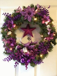 Beautiful Full Size Purple Christmas Wreath by ShesCraftyToo, $38.00