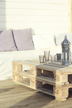 more pallet work: great idea for patio space, cheap furniture!