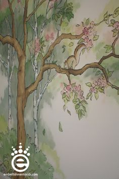Embellishments Kids: Out of the woods – a nursery mural for woodland friends and… Verzierungen Kids: Out of the woods – ein Kinderzimmer Wandbild für Waldfreunde und Baby McClure Kids Room Murals, Murals For Kids, Wall Murals, Tree Murals, Kids Rooms, Wood Nursery, Girl Nursery, Girl Room, Fairytale Bedroom