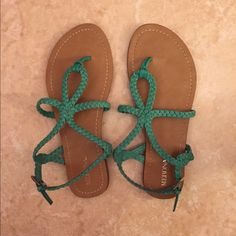 green sandals Green sandals. Lighly worn good condition. Merona Shoes Sandals