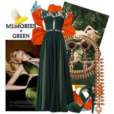 #ReemAcra #Green Evening Gown, #DOLCE #Platform #sandals Green, Alexander #McQueen Water-snake box #clutch, #Claw Set #Pearl and #Spike #Bracelet by #Mawi, Mawi #Necklace, Mawi #Earrings Fantasy Outfit#61 - #Green Memories Created by jinath-hyder on #polyvore