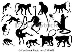 Stock Illustration of Monkey silhouettes collection csp7371079 ...