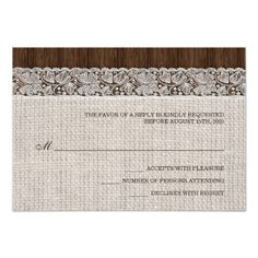 Rustic wedding RSVP With Burlap And Lace Invitation