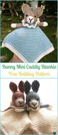 Amigurumi Bunny Mini Cuddly Blankie Free Knitting Pattern - Amigurumi Knit Bunny Toy Softies Free Patterns