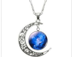 Features: 1 Pcs Hollow Moon & Glass Galaxy Statement Necklaces Silver Chain Pendants 2016 New Fashion Jewelry Collares Friend Best Gifts Please note the Moon Necklace, Silver Pendant Necklace, Sterling Silver Necklaces, Silver Jewelry, Silver Ring, Silver Earrings, Necklace Chain, Star Pendant, Silver Bracelets