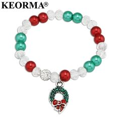 KEORMA DIY Elastics Rope Colorful Simulated-pearl Beads Bracelet Wreath/Snowflake Charm Bracelet For Women Christmas Gift AAX034 //Price: $15.96 & FREE Shipping //     #hashtag4