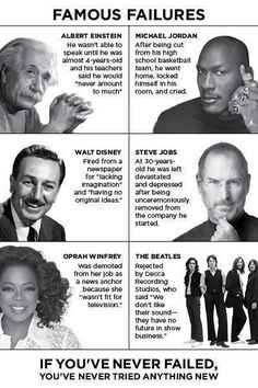 Famous Failures - #stevejobs #michaeljordan #waltdisney #einstein #beatles #oprah #fail #success