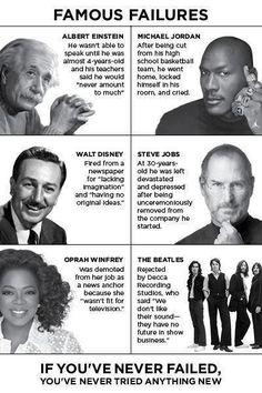 Famous Failures - #stevejobs #michaeljordan #waltdisney #einstein #beatles #oprah #fail #success