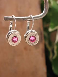 Bullet Jewelry - Nickel 38 Special/357 Silver Leverback Earrings with Rose PINK Swarovski Crystals - Pretty in Pink. $24.50, via Etsy.