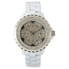 Clockwork Flower Watch. Also available in Black Jeweled watch case.