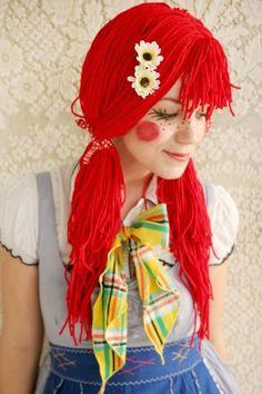 Mädchen Schminke Fasching-Ideen selber-Machen Perücke-rot Puppen-Gesicht