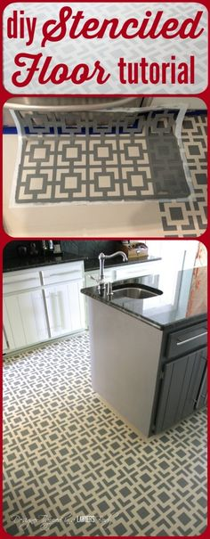 Do you have badly damaged wood floors that you can afford to refinish? This is a great option! Love the look of these stenciled floors! Check out the full tutorial by Designer Trapped in a La (Diy Step Porch) Stencil Concrete, Concrete Floors, Stenciled Floor, Floor Stencil, Do It Yourself Design, Painted Wood Floors, Stencil Diy, Tile Stencils, Flooring Options