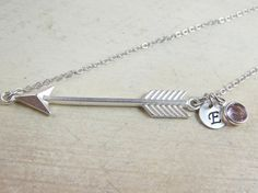 Arrow necklace Personalized Matte silver by PersonalizedWhimsies